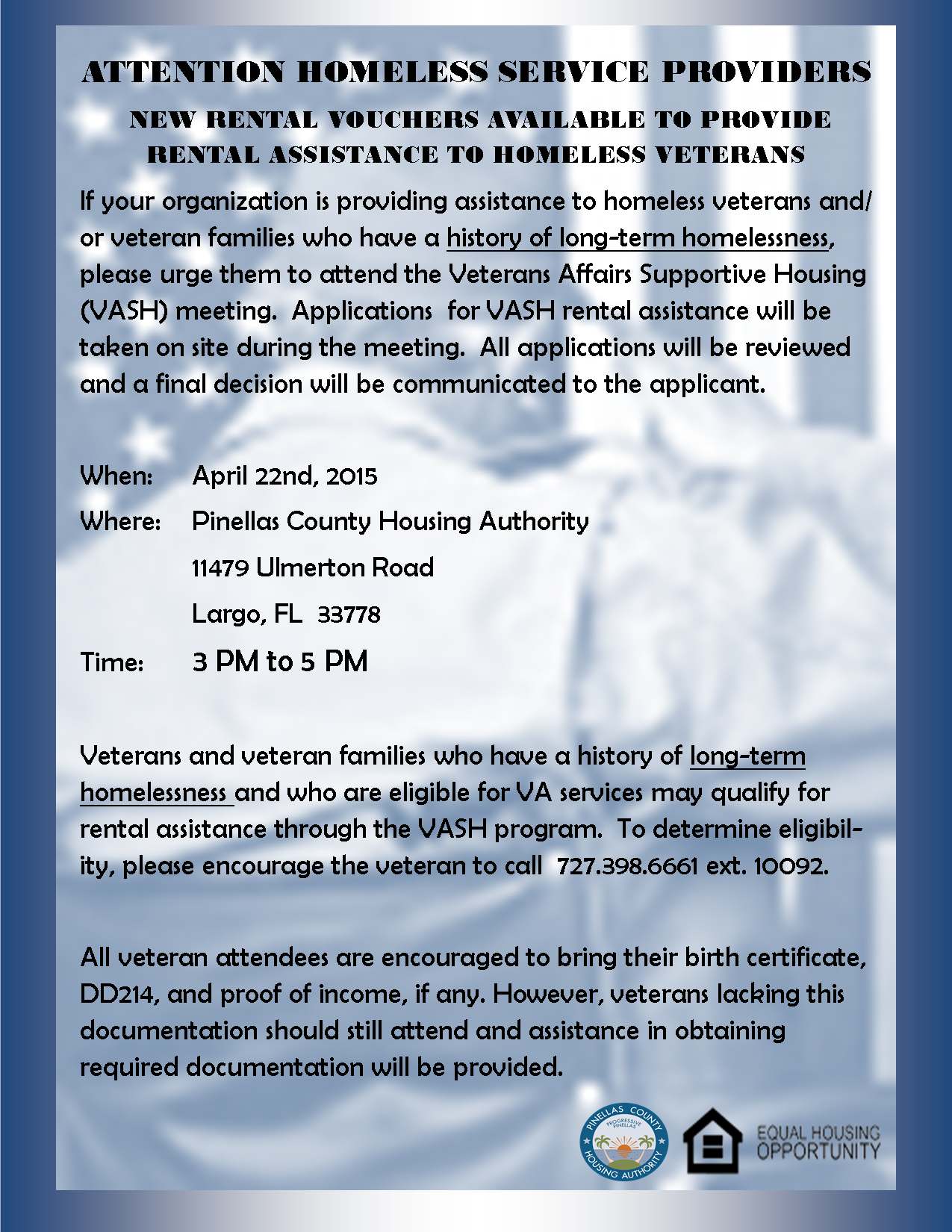 VASH April 22nd Outreach to Service Providers Churches